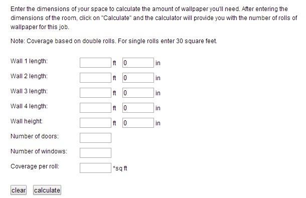 Lowe's Wallpaper Calculator