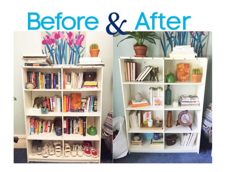 Before and After: A Chic Bookshelf Makeover - House of Funk