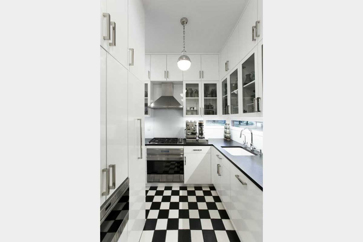 Kitchen Design with Black and White Floor