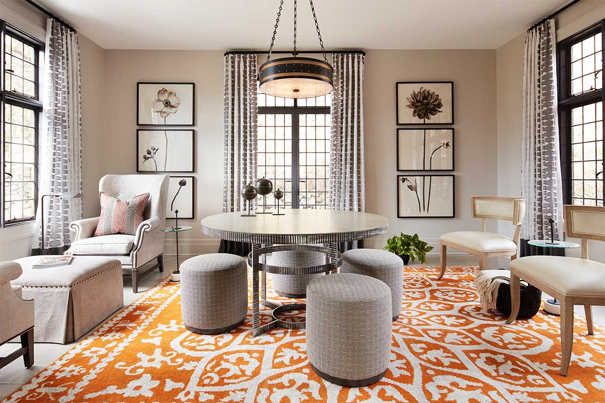 Sunroom-with-Orange-Pattern-Rug