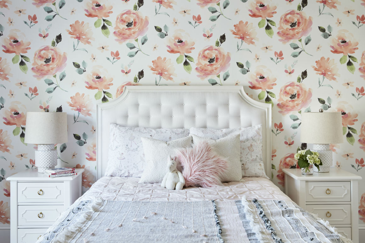 girls-room-floral-wallpaper-white-fabric-headboard