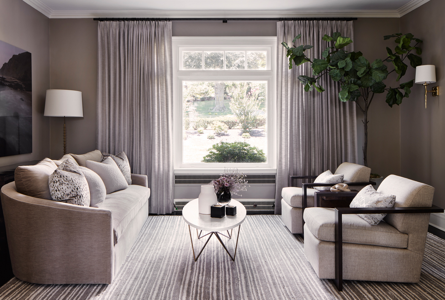 living room design with window treatments