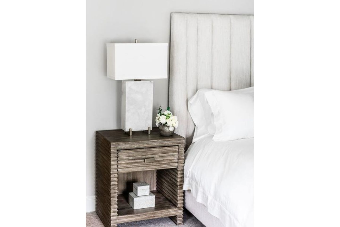 rustic nightstand and bedroom design