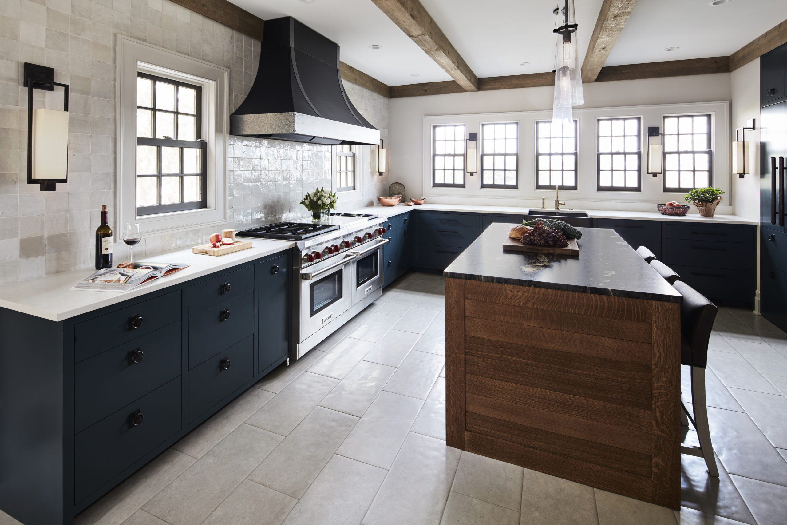 tudor kitchen design with exposed beams