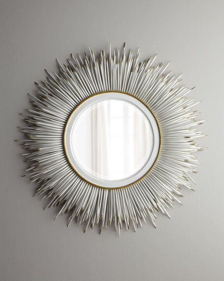"White ""Porcupine Quill"" Mirror, Statement-Making Mirror"