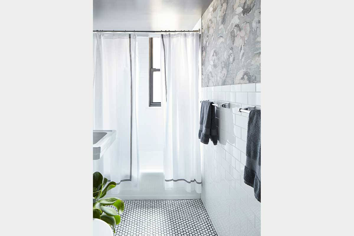 NYC-Bathroom-with-Wallpaper-and-White-Tile