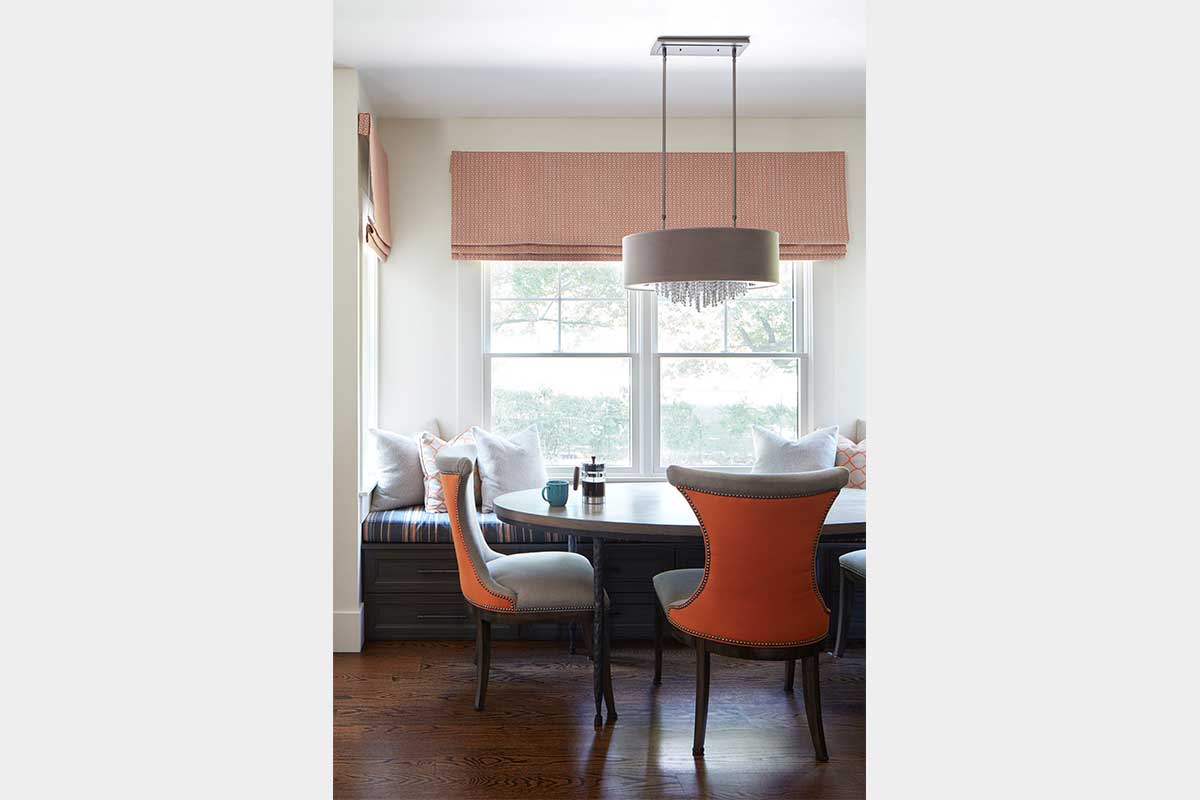 Breakfast Nook with Orange Chairs