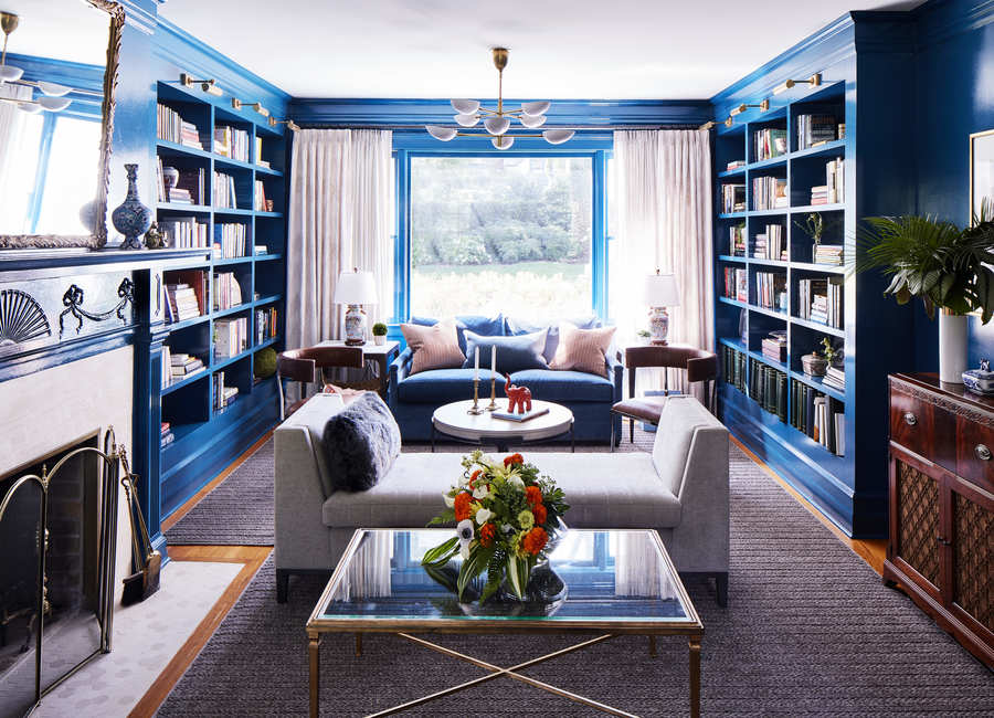 Eclectic Living Room Design Large Windows Bookshelves