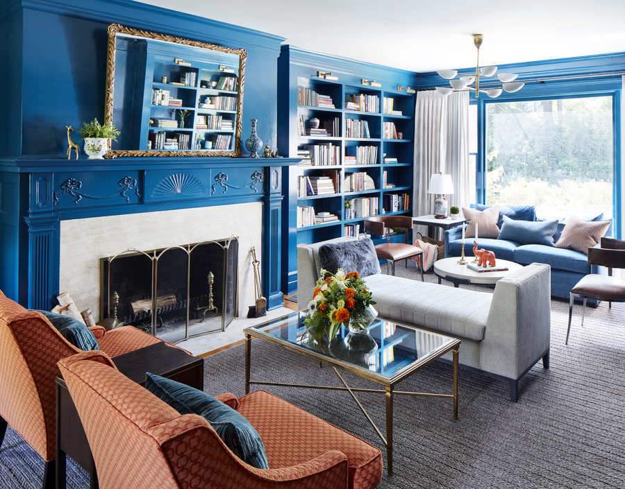 Eclectic Living Room Design fireplace bookshelves